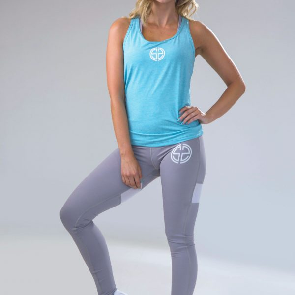 womens dry fit vest in teal 6 | womens high waisted leggings in grey 3 | Symmetry Athletics