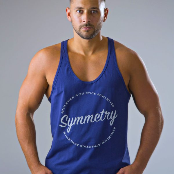 Mens stringer vest in navy and reflective 7 | symmetry athletics