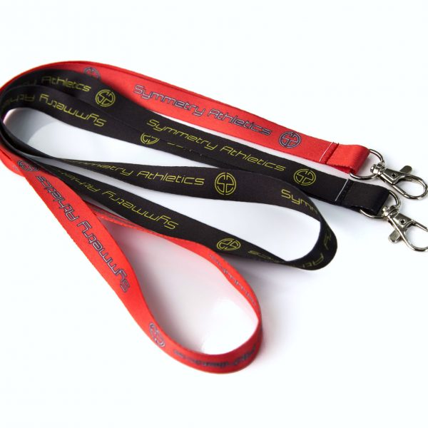 Coral and Black   Symmetry Athletics   Polyester Lanyard 3